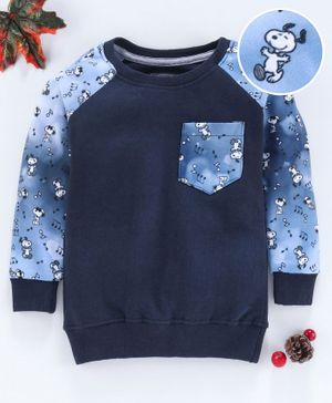 Eteenz Full Sleeves Sweatshirt Snoopy Dog Print - Navy Blue