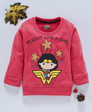 Eteenz Full Sleeves Sweatshirt Wonder Woman Print - Coral