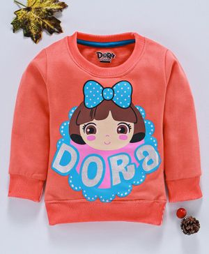 Eteenz Full Sleeves Sweatshirt Dora Print - Peach