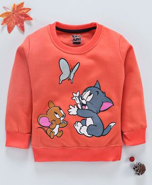 Eteenz Full Sleeves Sweatshirt Tom & Jerry Print - Peach