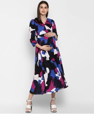 Momsoon Abstract Print Three Fourth Sleeves Wrap Dress- Multicolor