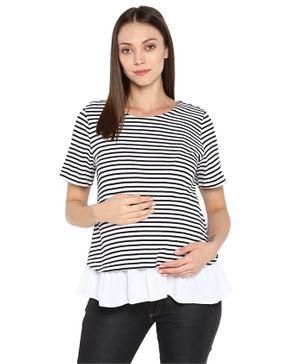 Momsoon Striped Half Sleeves Maternity Top - White And Black