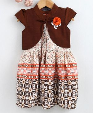 Enfance All Over Printed Dress With Short Sleeves Shrug - Brown