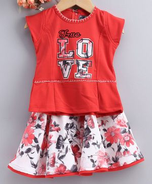 Enfance True Love Print Short Sleeves Top With Skirt - Red