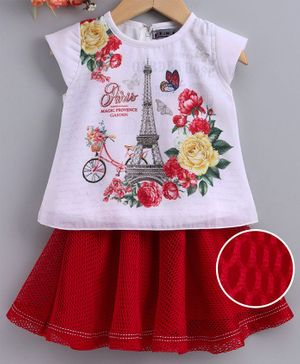 Enfance Flower Printed Short Sleeves Top With Netted Dress - White & Red
