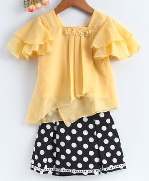 Enfance Flower Embellished Short Sleeves Top With Polka Dot Skirt - Yellow