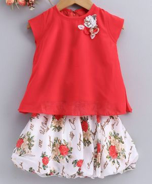 Enfance Flower Patch Short Sleeves Top With Printed Skirt - Red