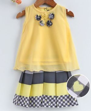Enfance Flower Embellished Sleeveless Top With Skirt - Yellow