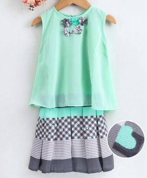 Enfance Flower Embellished Sleeveless Top With Skirt - Sea Green