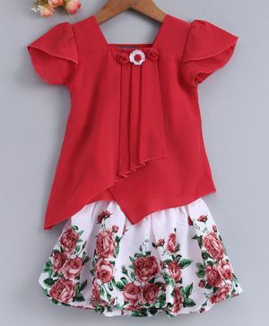 Enfance Flower Embellished Short Sleeves Top With Printed Skirt - Red
