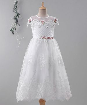Enfance Cap Sleeves Lace Work Gown - White