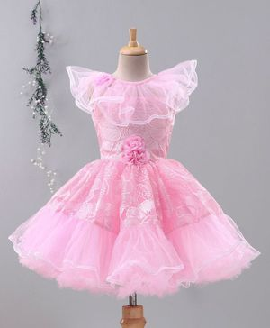 Enfance Cap Sleeves Tulle Flare Floral Decorated Dress - Pink