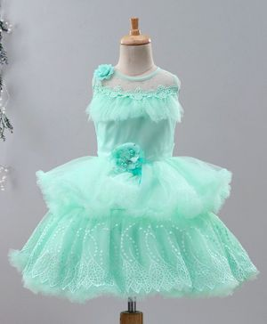 Enfance Sleeveless Flower Decorated Tulle Flare Dress - Green