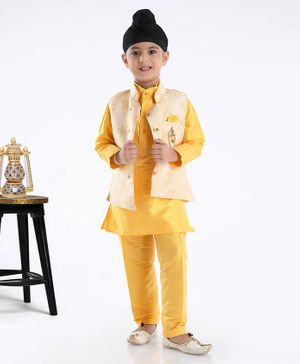 Dapper Dudes Full Sleeves Kurta With Self Leaves Printed Jacket With Pyjama  -Yellow