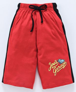 Taeko Jamaican Three Fourth Length Pants With Drawstring Car Print - Red