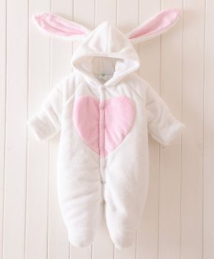 Pre Order - Awabox Full Sleeves Heart Patch Hooded Romper - White