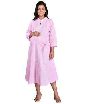 Mommy Cuddle Solid Three Fourth Sleeves Maternity Kurta - Light Pink