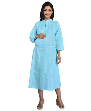 Mommy Cuddle Solid Three Fourth Sleeves Maternity Kurta - Light Blue