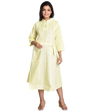 Mommy Cuddle Solid Three Fourth Sleeves Maternity Kurta - Yellow