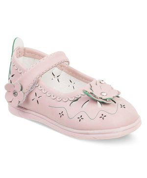Kittens Shoes Flower Decorated Velcro Straps Mary Janes - Pink