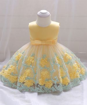 Pre Order - Awabox Flower Applique Sleeveless Dress - Yellow