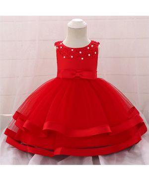 Pre Order - Awabox Sleeveless Pearl Detailed Tulle Flare Dress - Red
