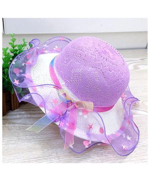 Syga Straw Hat With Frill & Bow - Purple