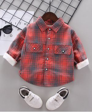 Pre Order - Awabox Checkered Full Sleeves Shirt - Red