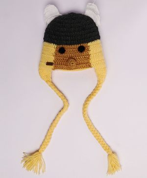 Knitting By Love Face Decorated Crochet Cap - Yellow & Brown