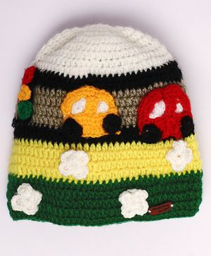 Knitting By Love Car Decorated Woolen Crochet Cap - Multicolor