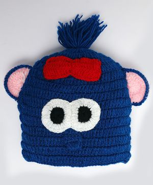 Knitting By Love Bow With Face Decorated Woolen Crochet Cap - Blue