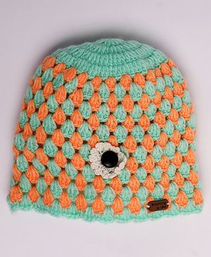 Knitting By Love Flower Decorated Crochet Woolen Cap - Green & Orange