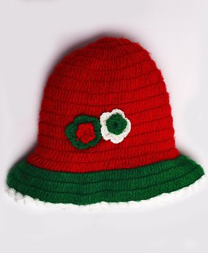 Knitting By Love Flowers Decorated Woolen Crochet Cap - Red & Green