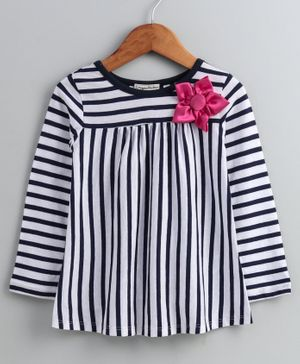 CrayonFlakes Full Sleeves Striped Flower Applique Top - White