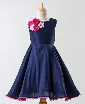 A Little Fable Rose Flower Detailed Scallop Hem Sleeveless Dress - Navy Blue