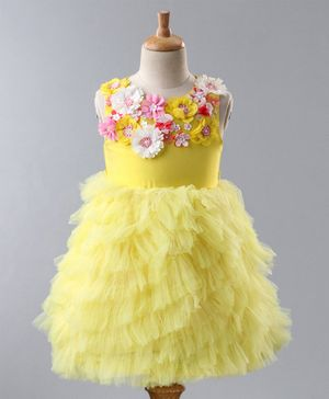 A Little Fable Flower Applique Sleeveless Cascade Dress - Yellow