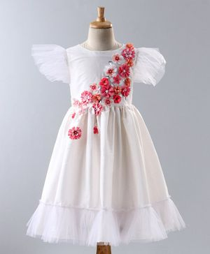 A Little Fable Flower Detailed Cap Sleeves Dress - White