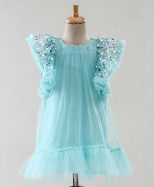 A Little Fable Sequin Embellished Cap Sleeves Dress - Blue