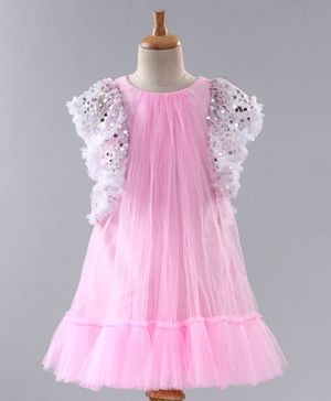 A Little Fable Sequin Embellished Cap Sleeves Dress - Pink