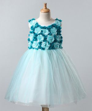 A Little Fable Flower Detailed Bodice Sleeveless Dress - Blue