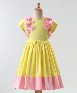 A Little Fable Flower Embellished Cap Sleeves Dress - Yellow