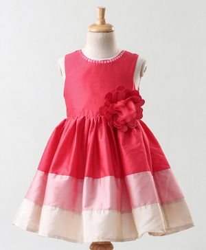A Little Fable Flower Applique Sleeveless Dress - Pink