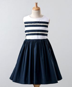 A Little Fable Nautical Sunflower Lace Sleeveless Dress - Blue