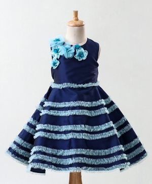 A Little Fable Flower Applique Sleeveless Dress - Blue