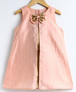 A Little Fable Gold Checked Sleeveless Dress - Pink