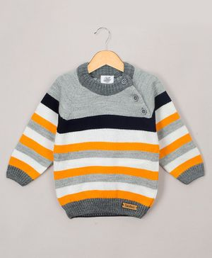 The Sandbox Clothing Co Striped Full Sleeves Sweater - Yellow