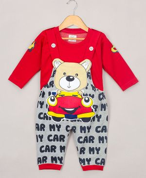 The Sandbox Clothing Co Full Sleeves Tee With Bear Patch Detailed Dungaree - Red