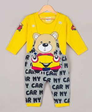 The Sandbox Clothing Co Full Sleeves Tee With Bear Patch Detailed Dungaree - Yellow