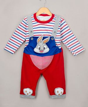 The Sandbox Clothing Co Full Sleeves Striped Tee With Bunny Patch Detailed Dungaree - Red