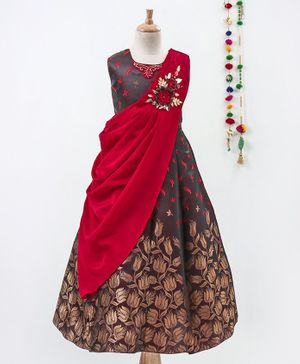 Betty By Tiny Kingdom Leaves Print Sleeveless Gown With Attached Drape Dupatta - Maroon